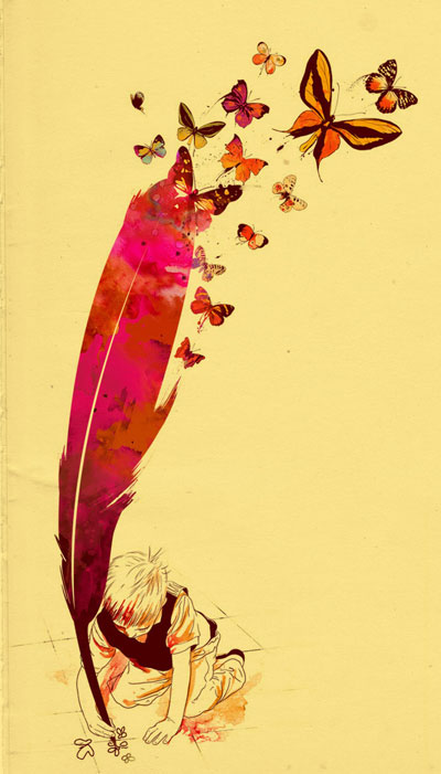 Uma criança desenhando borboletas com uma pena (Título: Unlimited Thought; Autor: Mathiole)