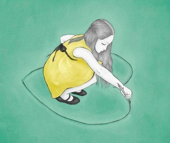 Ilustração de uma menina desenhando um coração que a rodeia.