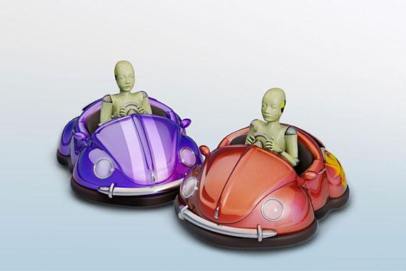 Ilustração de dois bonecos de teste em carrinhos de batida