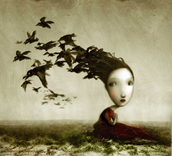 Desenho de uma menina melancólica, com pássaros (Título: Crows, Autor: Nicoletta Ceccoli)