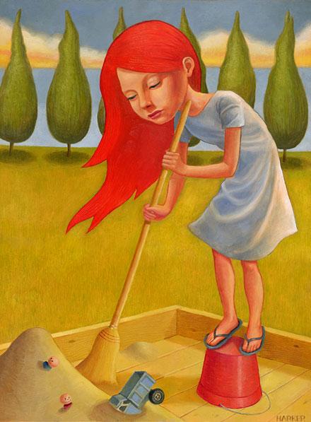 Uma menina varrendo uma caixa de areia (Título: Everything in its Right Place, Autor: Jim Harker)