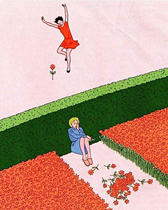 Duas mulheres, uma feliz e outra triste.
