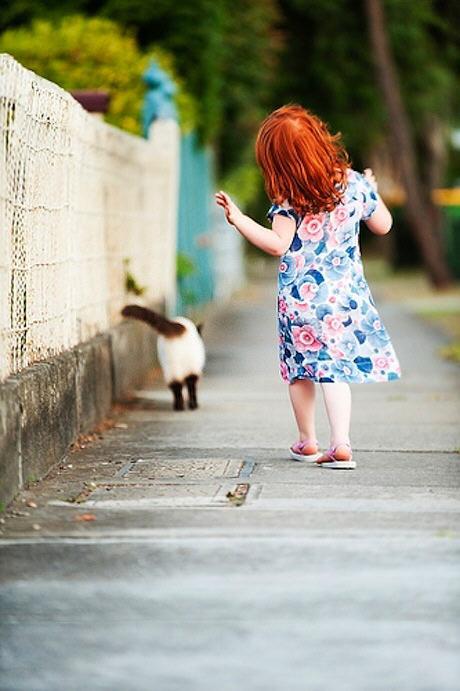 Foto de uma menina e seu gato caminhando muito tranquilos