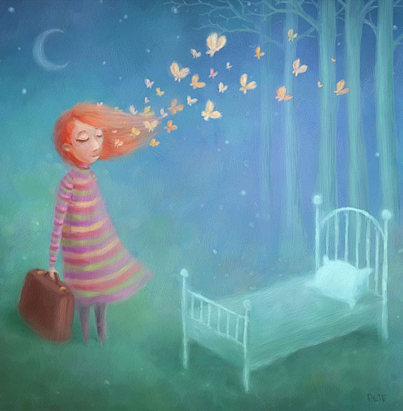 Ilustração de uma mulher prestes a entrar numa nova fase (Título: Going to Sleep, Autor: Pete Revonkorpi)