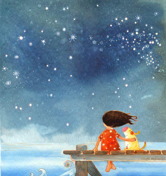 Ilustração de Claudia Degliuomini (uma menina e seu cachorro admirando o céu noturno).