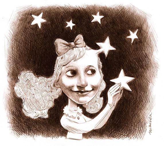 Desenho de uma criança rodeada de estrelas (Título: A Vida é Sonho, Autor: Santiago Mansilla)