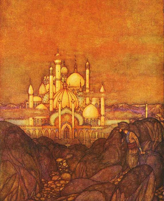 As Mil e Uma Noites, ilustração de Edmund-Dulac