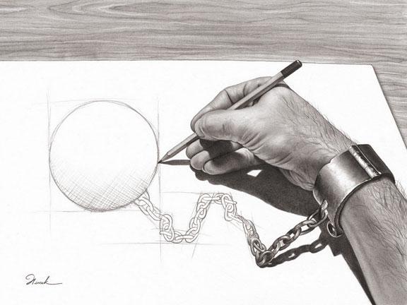 Uma mão que desenha seu próprio grilhão (Título: Prisoner of my own, Autor: Henrik Moses)