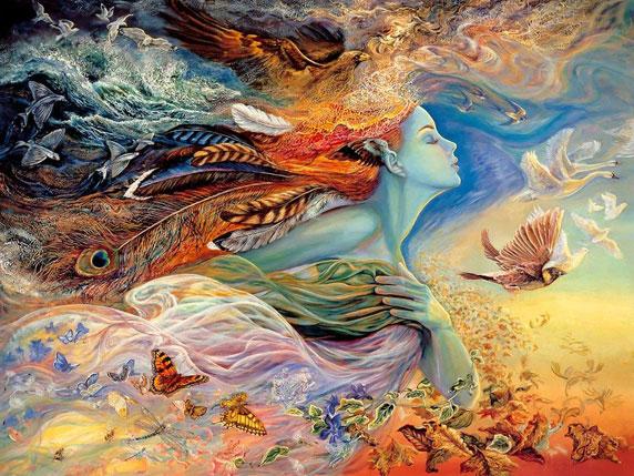 Ilustração de um espírito feminino que representa o voo e vento (Título: The Spirit of Flight, Autor: Josephine Wall)